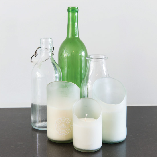 Candle holders made from recovered glass bottles