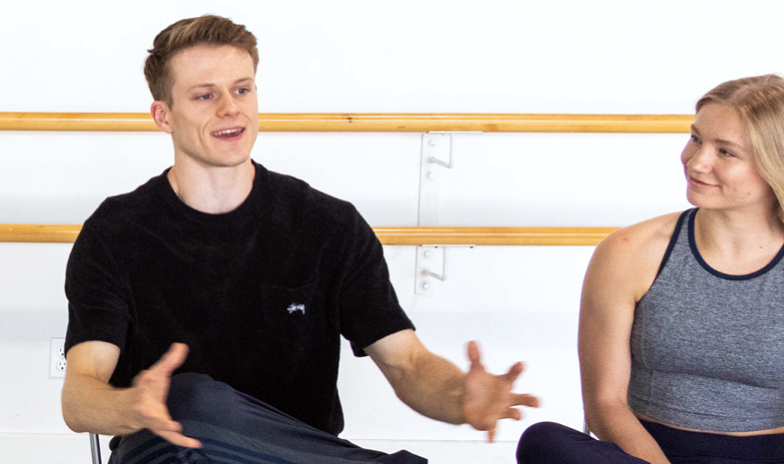 Ballet BC's professional dancers Parker Finley and Scott Fowler with Saje