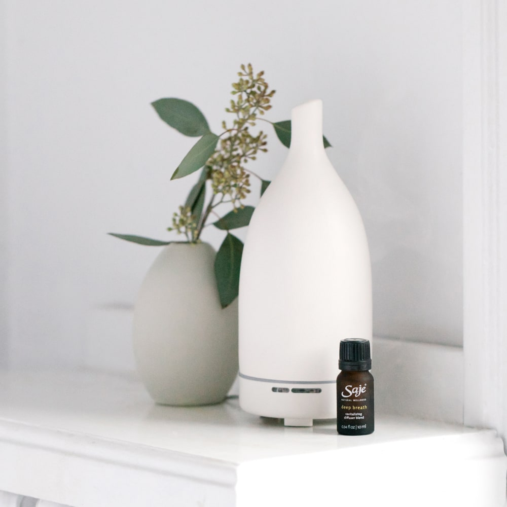 Aroma Om white diffuser with Deep Breath diffuser blend