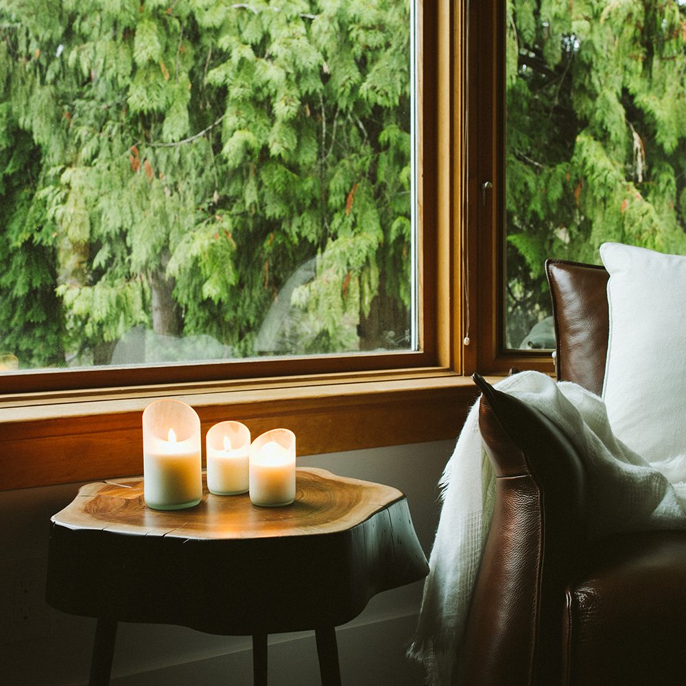 Create a restful retreat with candles.