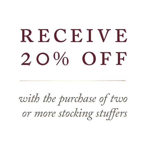 Receive 20% Off with the purchase of two or more stocking stuffers