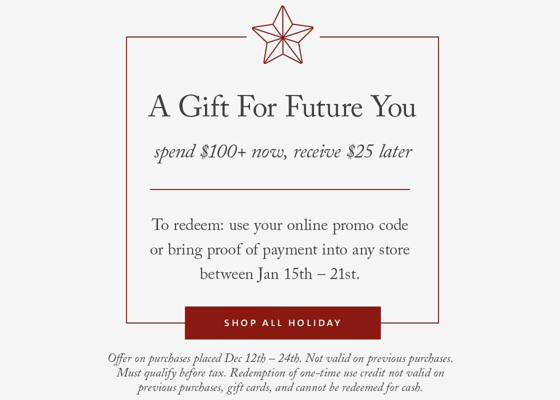 Curbside Comeback - spend $100+ now, receive $25 later