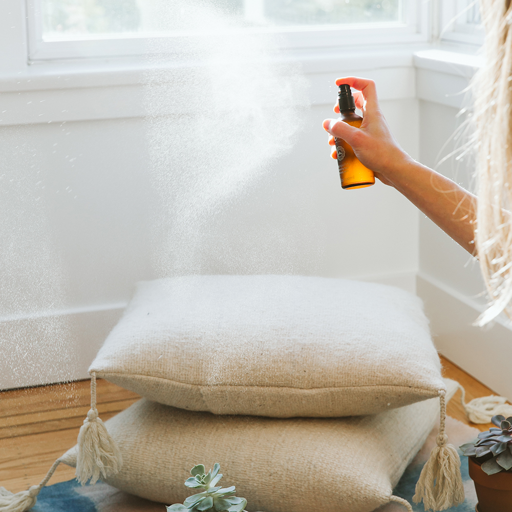 Mist some calming essential oils to help give you energy during winter months.