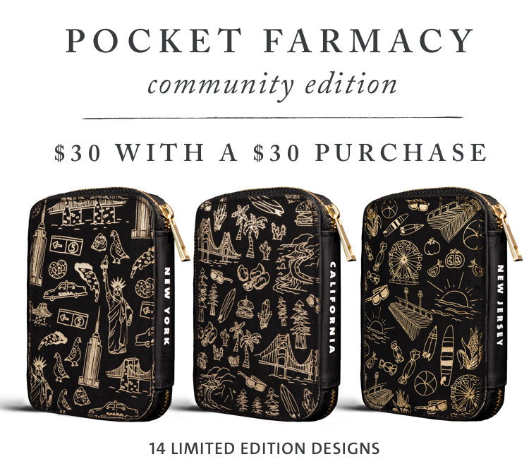 Rotating black limited edition Pocket Farmacy Community Edition $30 with $30 purchase