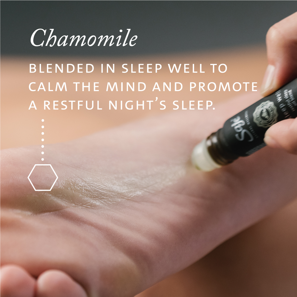 Chamomile blended in Sleep Well to calm the mind and promote a restful night's sleep.